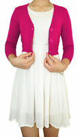 Women Cropped Cardigan 3/4 Sleeve Fitted V-Neck Soft Knit Regular & Plus Size