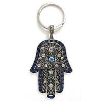 NEW Hamsa Hand Keychain Religious Charm Amulet Kabbalah Blue Evil Eye Lucky Gift