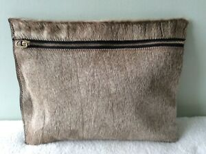 ZARA WOMEN brown and beige real fur clutch bag/makeup bag