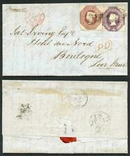 10d and 6d Embossed on Cover to Boulogne (Not sure if the stamps belong)