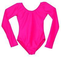 New Child's Scoop Neck Long Sleeve Leotard Bright Hot Pink Girls