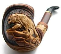 UNIQUE LONG HAND CARVED Wooden Tobacco Smoking Pipe/Pipes *PANTHER/TIGER*