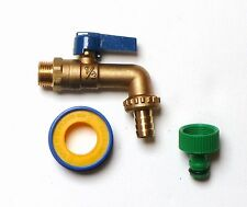 1/2 Inch Heavy Duty Brass Lever Outside Tap With Garden Hose Pipe Fitting + PTFE