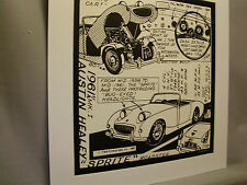1961 Austin Healey Sprite   Auto Pen Ink Hand Drawn  Poster Automotive Museum
