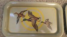 """Vintage Metal Snack Trays """"Ducks in Flight"""", set of 4"""