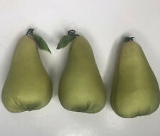 """Lot 3 Faux Fabric Pears Fruit Green Staging Prop Kitchen Decor 5"""" Stems"""