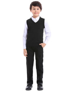 TOPTIE Boys Sweater Vest V Neck Sleeveless Pullover Basic Uniform Size 5 - 12