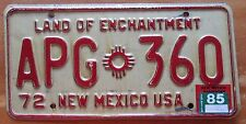 New Mexico 1985 License Plate # APG-360