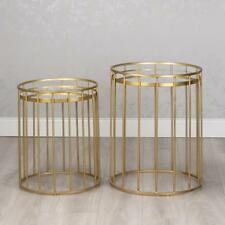 GOLD GLASS & METAL SET OF 2 ROUND CAGED NEST OF SIDE END LAMP COFFEE TABLES