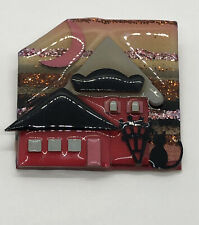 House Pins By Lucinda Brooch Glitter Moon Cat Black Red Pink