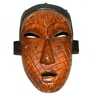 African Carved Brown with Black Trim Composite Mask of Face of a Woman