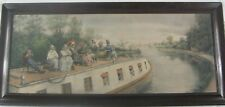 Antique 1890 Hand Colored Lithograph Boat on Canal by Edward Lamson Henry Listed