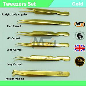 Eyelash Eyebrow Extension Tweezers Isolating Individual 2D-8D Russian Volume Set