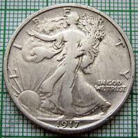 UNITED STATES 1917 P 1/2 HALF DOLLAR WALKING LIBERTY, PHILADELPHIA SILVER