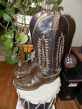 "TONY LAMA Cowboy Western Boots Mens Brown Size 10.5D Leather 16.5"" Tall Tx USA"