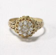 Antique Georgian Ring 14kt Yellow Gold Rose Cut Diamonds .8 Carats Size 8.5