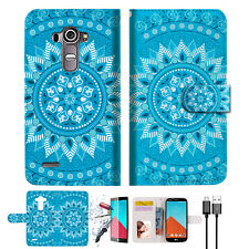 BLUE AZTEC TRIBAL Wallet TPU Case Cover For LG G4-- A001