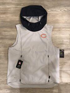 NFL Chicago Bears Nike Shield Fly Rush Hoodie Vest Jacket AO4318-007 Men's Sz L