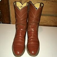 Vntg JUSTIN BOOTS 9AA Brown Leather ROPERS WESTERN COWBOY-Made In USA, brown