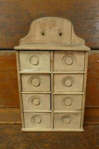 Antique Primitive Wooden Spice Cabinet Box Apothecary Chest 8 Drawers