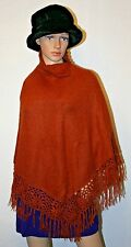 ALPACAWARE KNIT PONCHO RUST ORANGE COGNAC BROWN COVER UP ONE SIZE S M L
