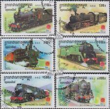 Cambodja 2211-2216 gestempeld 2001 Stoomlocomotieven