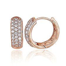 Rose Gold Tone over Sterling Silver Cubic Zirconia 15mm Huggie Hoop Earrings