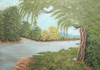 Antique Naive Art river landscape oil painting