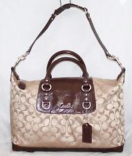COACH F15440 Ashley Signature Khaki Canvas Mahogany Patent Satchel Shoulder Bag