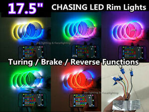 """【M1】4x 17.5"""" Chasing LED Wheel Rings Lights with Turning/Brake/Reverse Functions"""