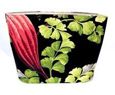 Vintage Exotic Black/Pink/Green  Barkcloth Purse Tote Bag Bucket Needs Handles