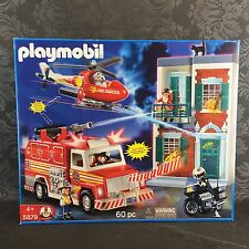 Playmobil #5879 Fire Truck Helicopter Rescue Set New Sealed Rare