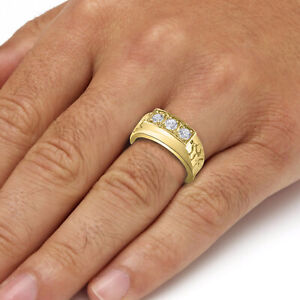 Three Stone Simulated Diamond Real 10kt Solid Yellow Gold Men's Ring