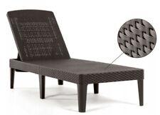 Sun Lounger Recliner Chair Garden Patio Pool Keter Rattan Style Dark Brown HQ UK