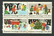 4 Vintage Unused US Postage 20 Cent Christmas Stamps SEASONS GREETINGS IceSkatin