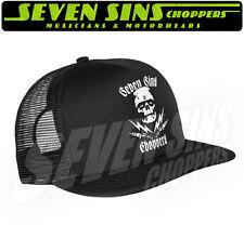 SEVEN SINS CHOPPERS MOTORCYCLE HOTROD ZOMBIE MISFITS TRUCKER CAP HAT BLACK