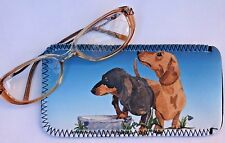 DACHSHUND SHORT HAIRED DOG NEOPRENE GLASS CASE POUCH  SANDRA COEN ARTIST PRINT