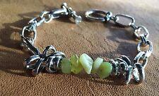 Handmade Genuine Serpentine Stone Chainmaille Steampunk Boho Bracelet Jewelry