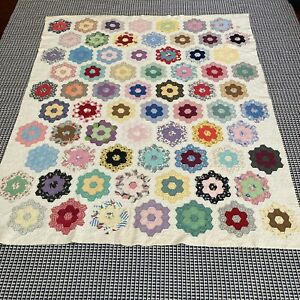 VTG Handmade Hand Stitched Grandmothers Flower Garden Quilt 75x63 Twin Size