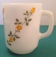 Anchor Hocking Milk Glass Mug With Yellow Roses In Line
