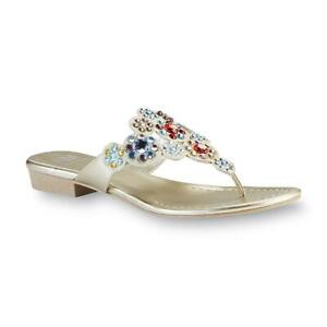 AM BY ANN MARINO Women Amy Gold Embellished Thong Sandal, Size: 5. FREE SHIPPING