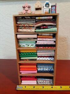 Dollhouse Miniature Sewing Cupboard Bookshelf w/ large LOT of Fabric Bolts 1:12
