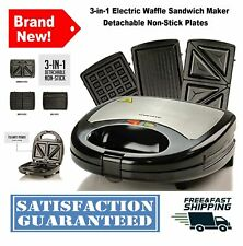 3-in-1 Electric Waffle Sandwich Maker Detachable Non-Stick Plates 750-Watts