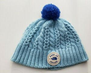 """NORTH FACE """"BORN TO EXPLORE"""" Baby Toddler Socking Cap Blue Pom Pom 6-24 months"""