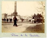 France, Paris, Place de la Bastille  Vintage albumen print. Tirage albuminé