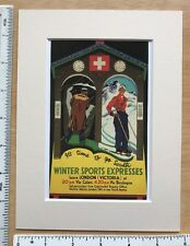 """VINTAGE montato FERROVIA poster: vacanze invernali anni 1930: 8"""" x 6"""" Repro"""