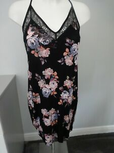 M&S ROSIE FOR AUTOGRAPH BLACK MIX CHEMISE STYLE NIGHTDRESS UK SIZE 12