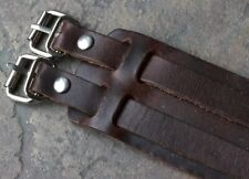 Vintage 1970s Distressed Leather cuff watch band double straps & steel buckles
