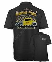 Velocitee Speed Shop Mens Polo Shirt Hammerhead Hot Rat Rod Rockabilly W17054
