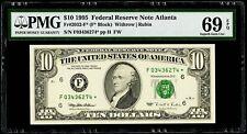$10 1995 Federal Reserve * Star Note Atlanta Fr#2032-F* PMG 69 EPQ Superb Gem UN